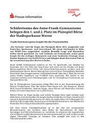 Planspiel Börse 2013 - Stadtsparkasse Werne