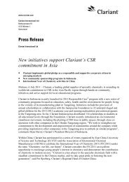 New initiatives support Clariant's CSR commitment in Asia