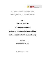 Aktuelle Debatte Die Schlecker-Insolvenz und der ... - CDU-Fraktion