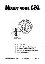 Neues vom CFG - Heft 19 - Herbst 2005 (PDF - CFG, Schleiden