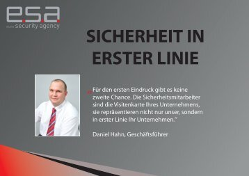 SICHERHEIT IN ERSTER LINIE - Euro Security Agency