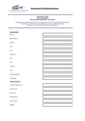 Bewerbung für Nachunternehmer - Schlegelmilch GmbH
