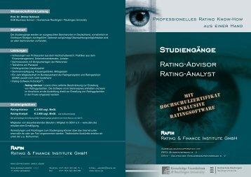 Studiengänge Rating-Advisor Rating-Analyst - RaFIn