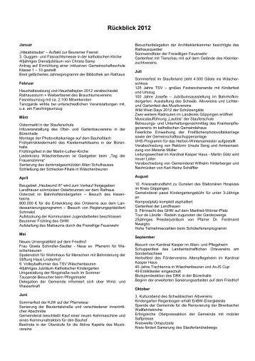 Wichtige Ereignisse von Januar bis Dezember 2012 - Wäschenbeuren