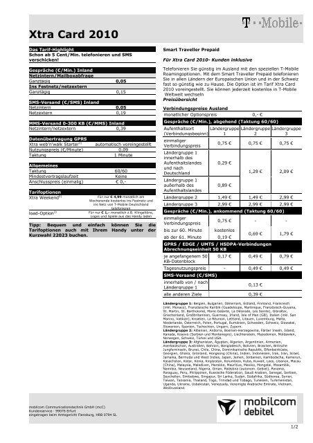 Xtra Card 2010 Mobilcom Debitel
