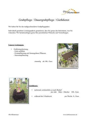 Grabpflege / Dauergrabpflege / Gießdienst - Die Blumenoase