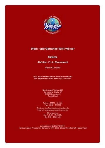 Katalog für Abfüller: F.LLI Ramazzotti - und Getränke-Welt Weiser