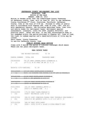 jefferson county delinquent tax list public bidder sale notice