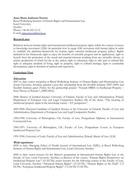Anna Maria Andersen Nawrot Raoul Wallenberg Institute Of Human