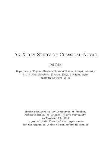 An X-ray Study of Classical Novae - X-ray Astronomy Group at ISAS