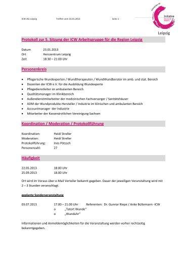 Leipzig Protokoll zur 5. Sitzung der ICW Arbeitsgruppe für die ...
