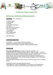 Rezept Produkttour Wellness August 2011 - Amway