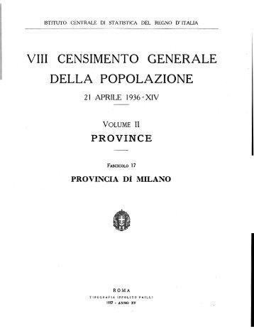 VIII CENSIMENTO GENERALE DELLA POPOLAZIONE - Istat