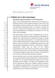 presseinform ation - Messe Bremen