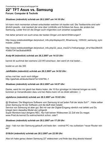 "22"" TFT Asus vs. Samsung - pruefungsgeil.de"