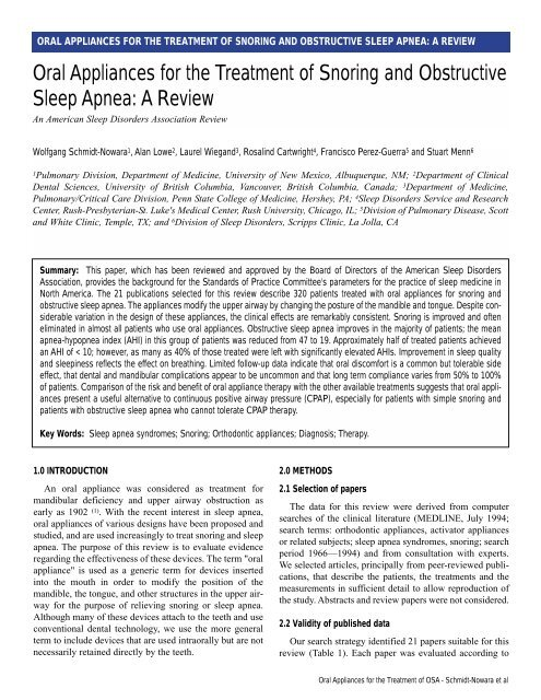 An American Sleep Disorders Association Review ORAL