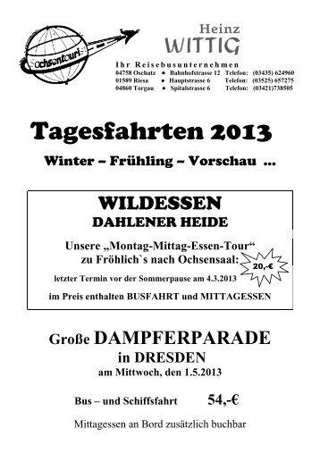 Tagesfahrten 2013 - Sachsentourist Wittig