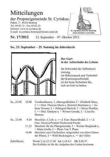 Mitteilungen 17-2012  (23. Sep - 7. Okt)