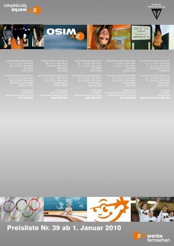 Preisliste Nr. 39 ab 1. Januar 2010 - ZDF Werbefernsehen