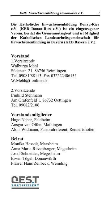 Vorstand Vorstandsmitglieder Beirat - Bischöfliches Dekanat ...