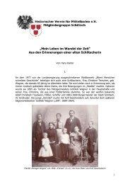 Mein Leben im Wandel der Zeit - Geschichte - Schiltach