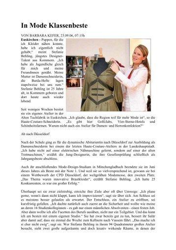 "September 2006 - ""In Mode Klassenbeste - stefanie behling couture"