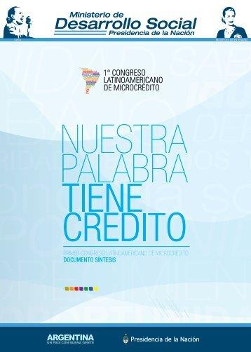 Nuestra palabra tiene crédito - Ministerio de Desarrollo Social