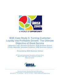 IESE Case Study II: Turning Customer Loyalty into Profitable ... - Ihrsa