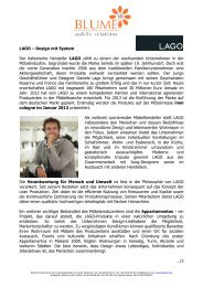 LAGO – Design mit System Der italienische Hersteller ... - Blume PR