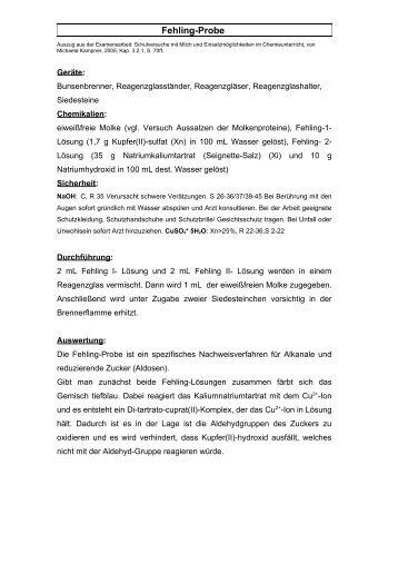 Fehling-Probe - Chemie und ihre Didaktik, Universität Wuppertal