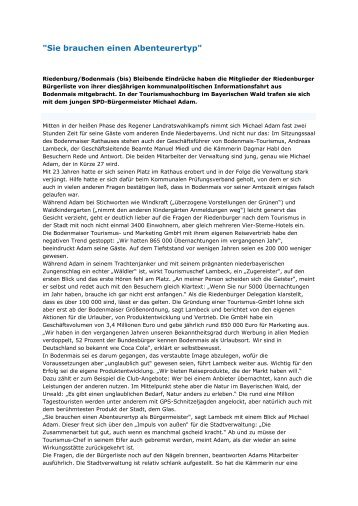 """""""Sie brauchen einen Abenteurertyp"""" - buergerliste-riedenburg.de"""