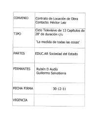 CONVENIO Contrato de Locación de Obra Contacto: Héctor Laiz - INTI