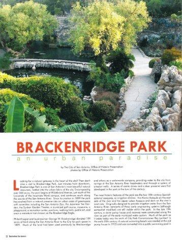 Brackenridge Park: An Urban Paradise - The City of San Antonio