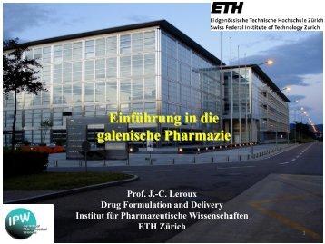 galenische Pharmazie - ETH - Institute of Pharmaceutical Sciences ...