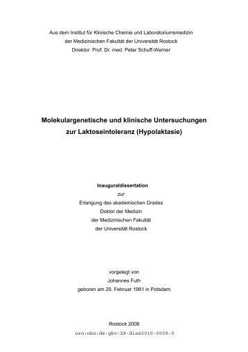 Molekulargenetische und klinische Untersuchungen zur ...