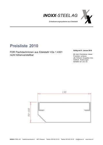 INOXX-STEEL AG Preisliste 2010