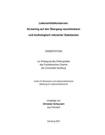 Lebensmittelkonserven - Chemie - Universität Hamburg