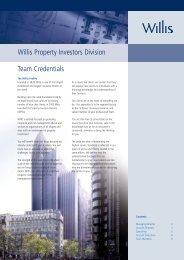 Team Credentials Willis Property Investors Division