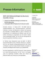 Presse-Information - bei der BASF Schweiz