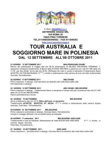 TOUR AUSTRALIA E POLINESIA - Anywhere Viaggi