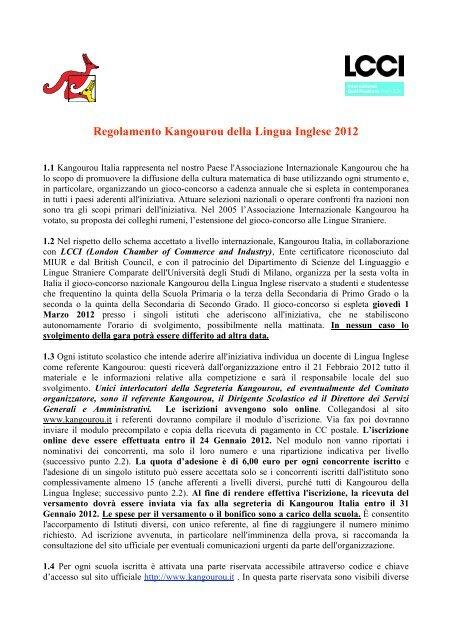super popular 33b6e 8a436 Regolamento Kangourou della Lingua Inglese 2012 - Kangourou ...