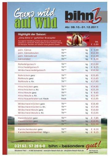 Highlight der Saison: - BIHN Fleisch und Fisch GmbH