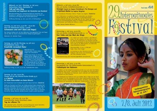 Flyer Internationales Festival - Stadt Aalen