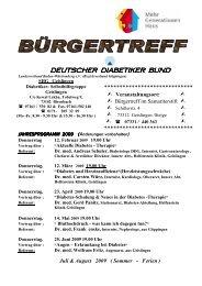 SHG Geislingen Jahresprogramm 2009 - Deutscher Diabetiker ...