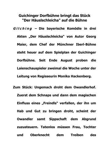 Guichinger Dorfbühne bringt das Stück - Kultur-Portal Gilching