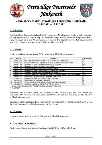 Jahresbericht 2012 - Freiwillige Feuerwehr Jünkerath-Glaadt