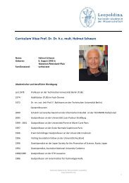 Curriculum Vitae Prof. Dr. Dr. hc mult. Helmut Schwarz - Leopoldina