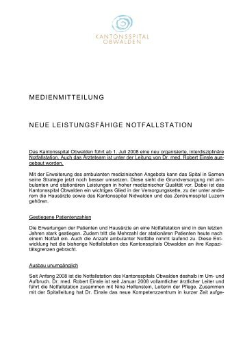medienmitteilung neue leistungsfähige notfallstation - Kantonsspital ...