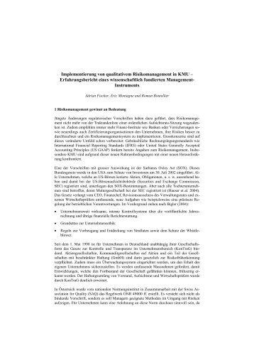 Implementierung von qualitativem Risikomanagement - i-Risk GmbH