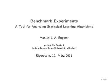 Benchmark Experiments - Institut für Statistik
